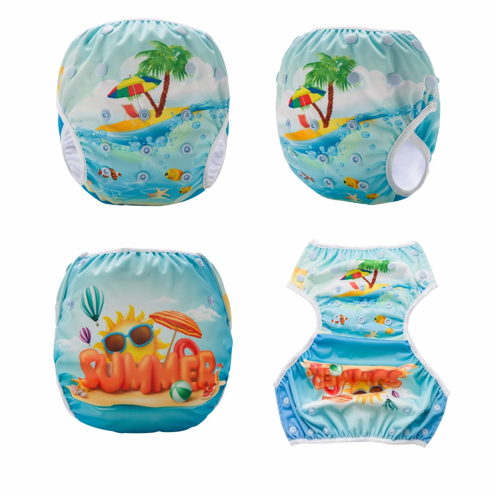 Summer! One Size Baby Swimming Diapers Washable Swim Pool Baby Swim Nappy Cover 1PCS