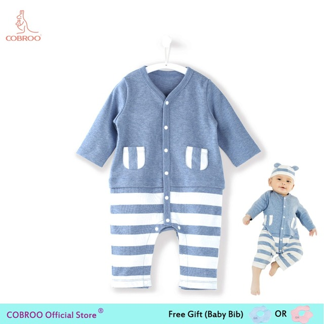 Newborn Baby Boy Clothes Summer Rompers 0 12 Months Stripe Boys