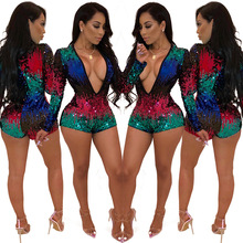 New 2019 European And American Women's Fashion Color Sequins Sexy V-neck Long-sleeved Jumpsuit цена и фото