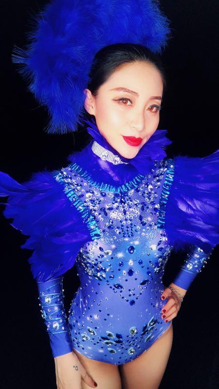 Sparkly Azul Pedrinhas Pena Sexy Desgaste Boate