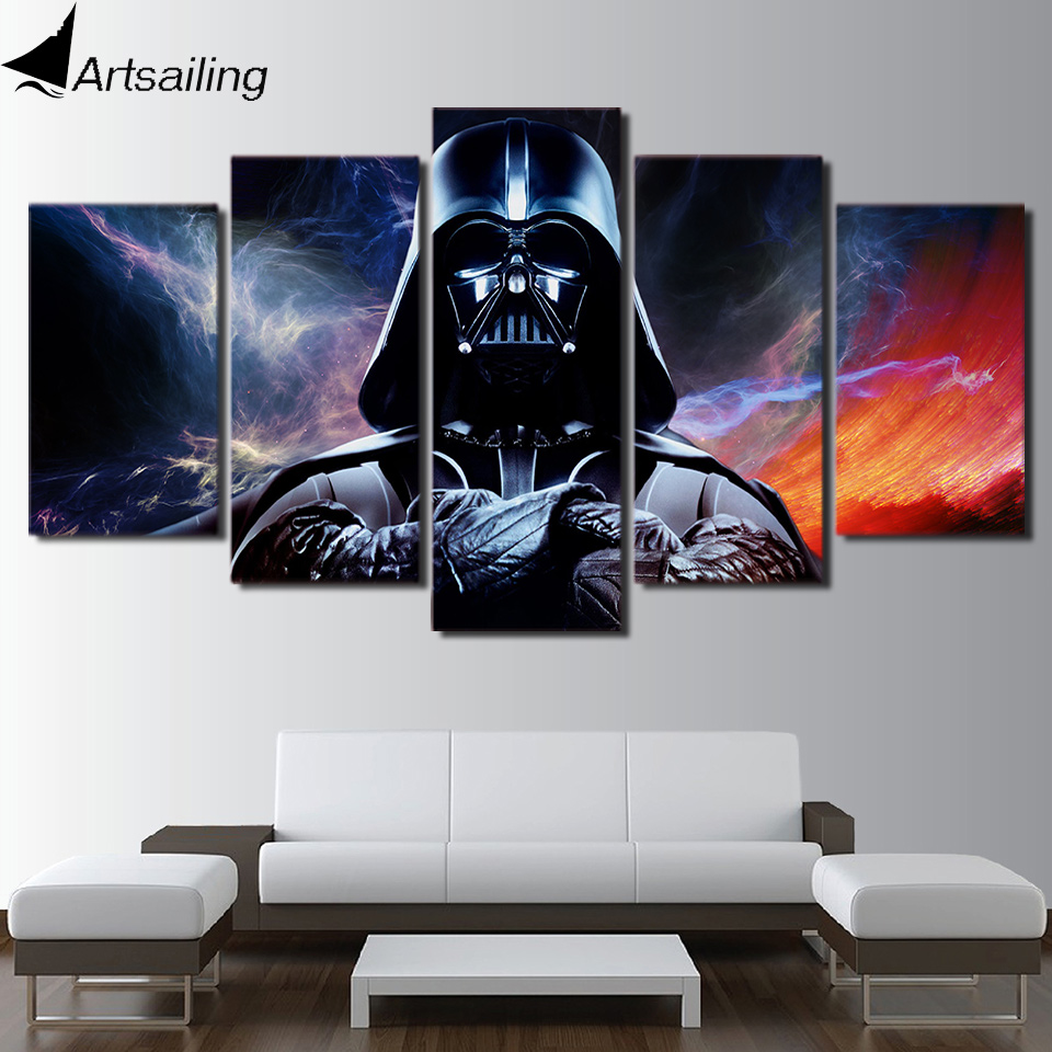 HD printed 5 piece canvas art Star Wars Painting star wars canvas wall art livingroom decor canvas art Free shipping/PC-8111 image
