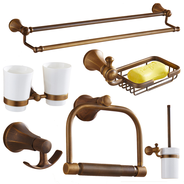Delicieux Antique Bronze Brass Bathroom Accessories 10 Items Carved Brushed Bathroom  Products Bathroom Hardware Sets Iu53