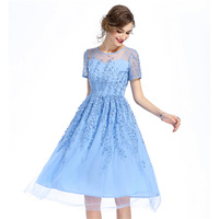 Women Elegant Lace Mesh Embroidery Dress Summer Femme Short Sleeve Pink Long Dress Blue Holiday Party