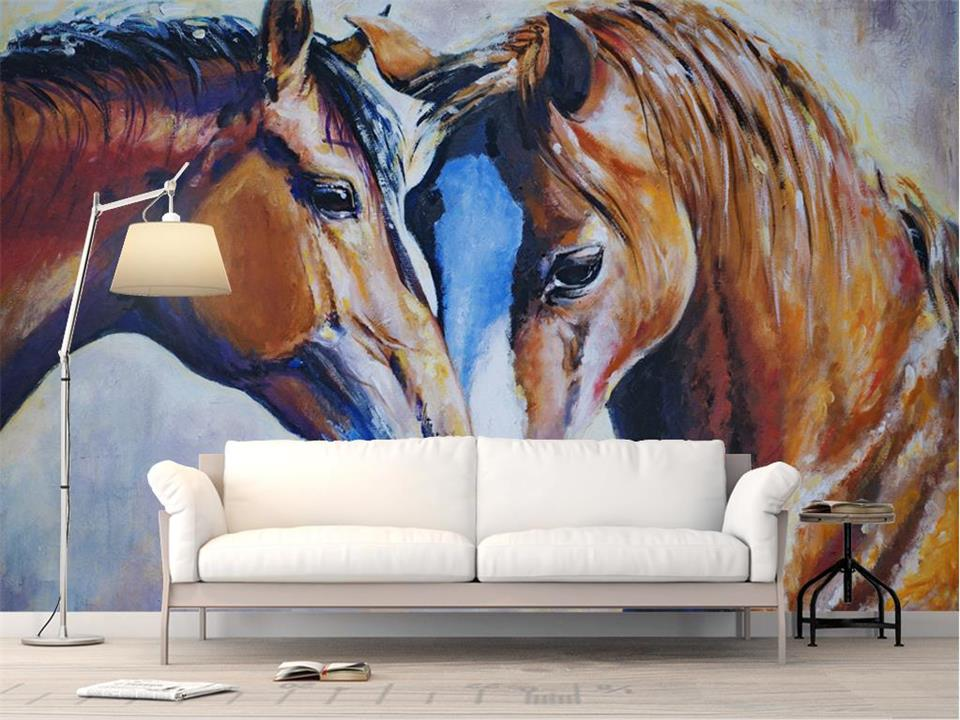 3d wallpaper photo wallpaper custom living room mural two horses color oil painting picture 3d wall mural wallpaper for walls 3d custom 3d photo wallpaper waterfall landscape mural wall painting papel de parede living room desktop wallpaper walls 3d modern