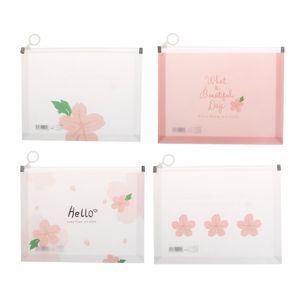 A4 A5 Cherry Blossom Clear Plastic Document Stationery Case Zipper Bag Pouch