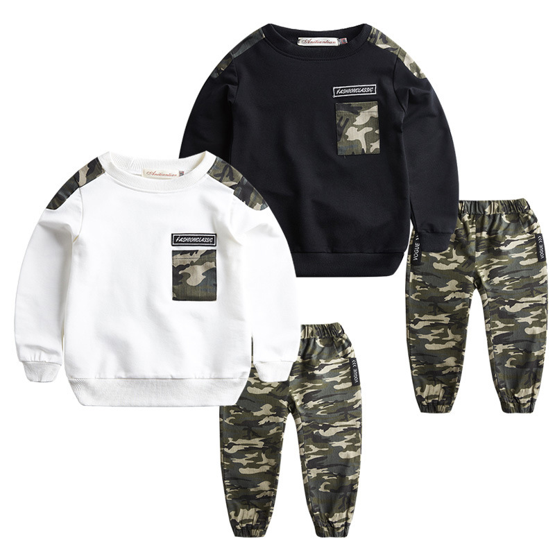 Boys clothing summer children's clothing set children's camouflage long-sleeved T-shirt + pants sports suit 4 13 15 years 2016 summer boys short sleeved t shirt two piece children s sports suit camouflage uniforms boys