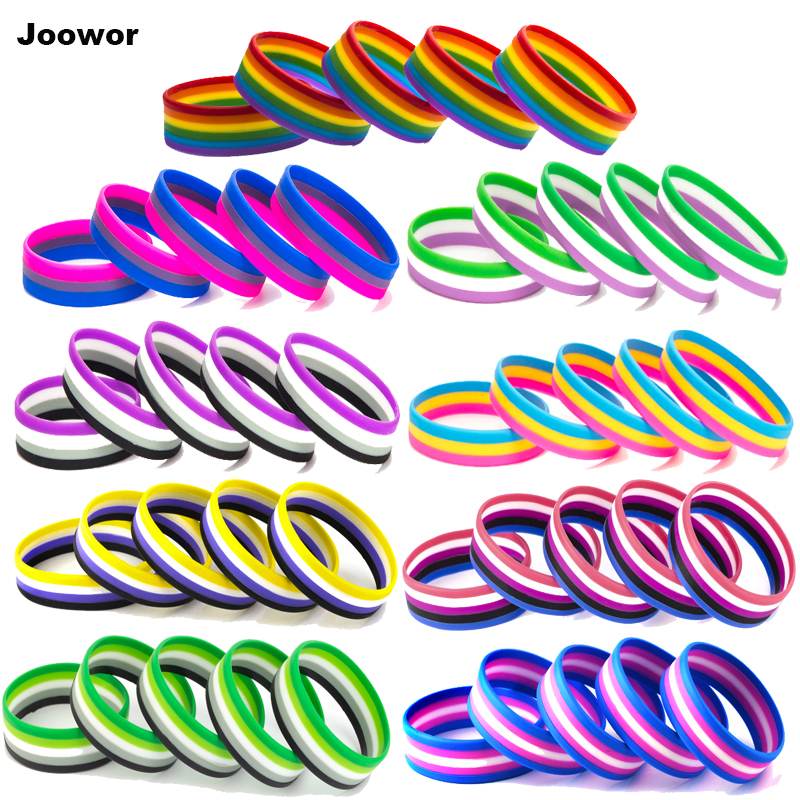 LGBT Pride Rainbow Pansexual Asexual Genderqueer <font><b>Bisexual</b></font> <font><b>Wristband</b></font> Jewelry Silicone Bracelet 10PCS SLP-0000 image