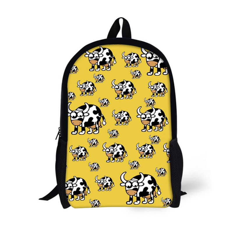 NOISYDESIGNS Kawaii Children School Bags Backpack for Boys Girls Students Book Bag Cute Cow Dogs Printed Teenager Notebook Bag