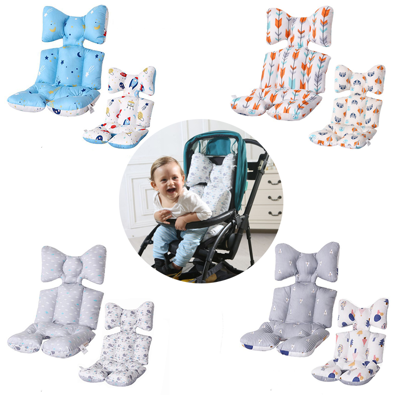 2 Sides Baby Printed Stroller Pad Seat Warm Cushion Pad Mattresses Pillow Cover Child Carriage Cart Pad Trolley Chair Cushion(China)