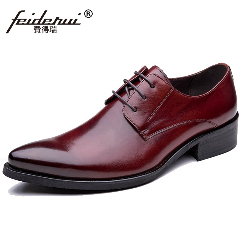 Italian Famous Man Dress Party Shoes Genuine Leather Formal Wedding Oxfords Pointed Toe Derby Business Men's Bridal Flats TH32 new arrival pointed crocodile man formal dress wedding shoes genuine leather male oxfords men s derby bridal flats ih30