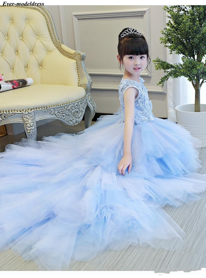 3D Flower Girl Dress for Weddings Girls Pageant Prom Dress Hi Low Real Image