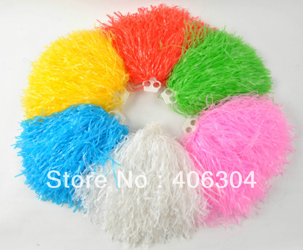 80g plastic  PE flash cheerleading pompom pom pom red blue green white black yellow purple and hot pink ballroom costume