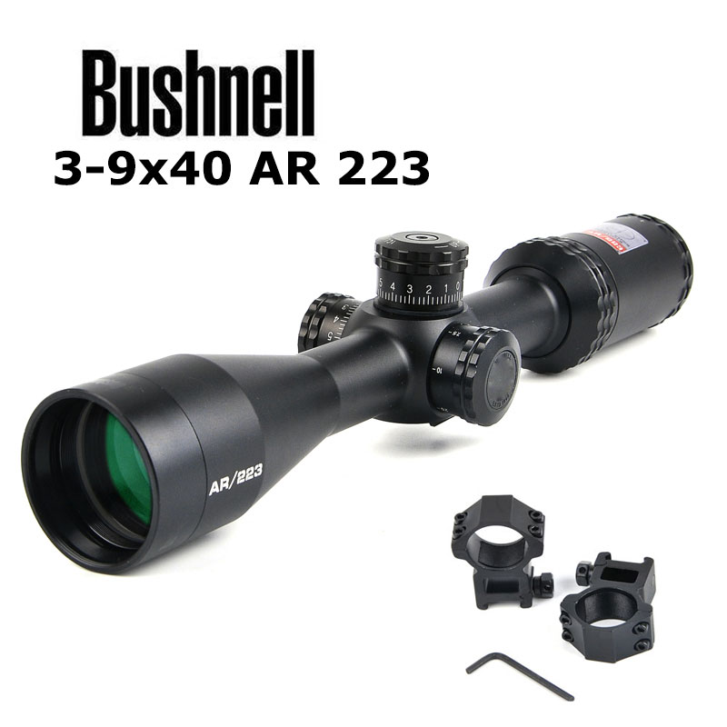 BUSHNELL 3-9x40mm Optics Drop Zone-223 BDC Reticle Riflescope with Target Turrets and Side Parallax Hunting Scopes