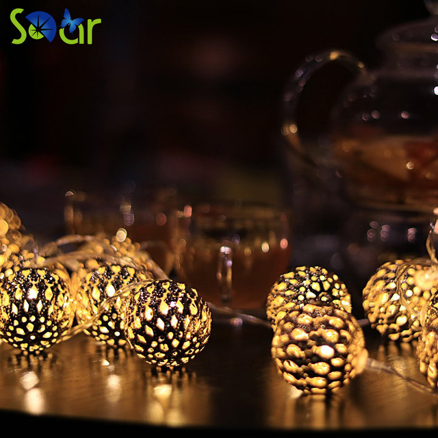 Warm White Moroccan Metal Ball 10 Led Fairy String Lights Battery Operated For Xmas Festive Wedding