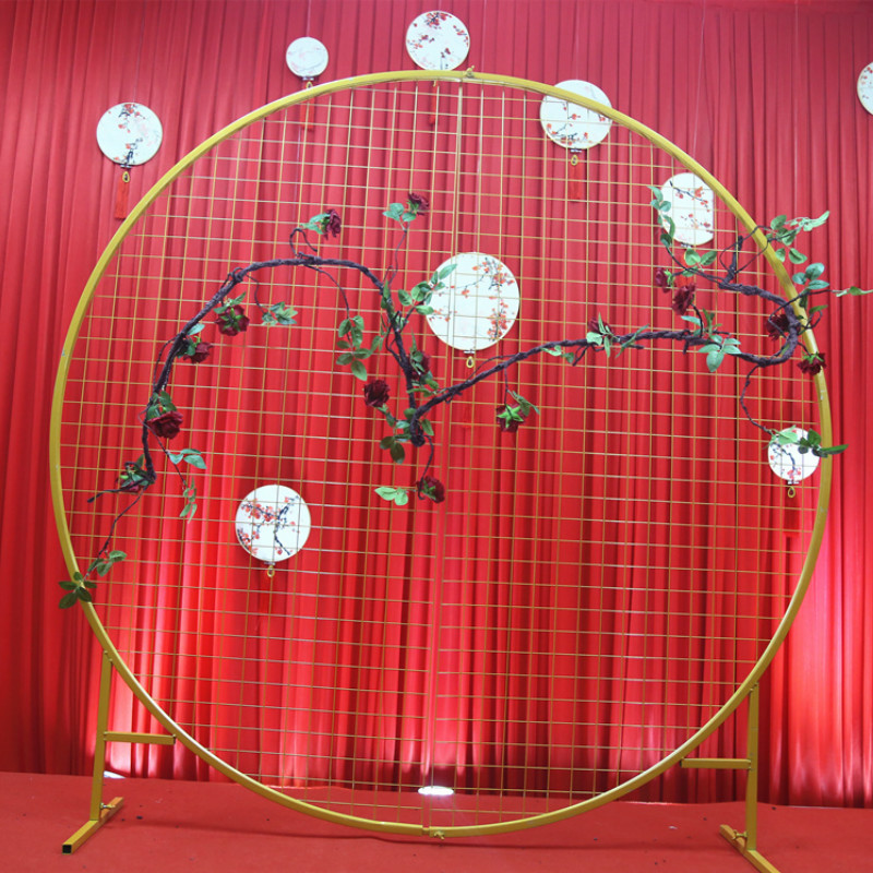 Wrought Iron Grid Round Arch Wedding Decoration Net Support Arch Screen Screen Layout New StyleWrought Iron Grid Round Arch Wedding Decoration Net Support Arch Screen Screen Layout New Style