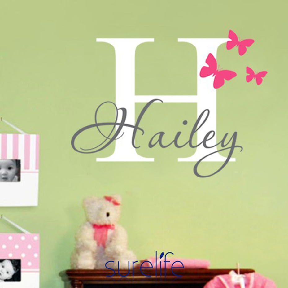 Personalized Name Initial Vinyl Wall Sticker Mural Butterflies ...