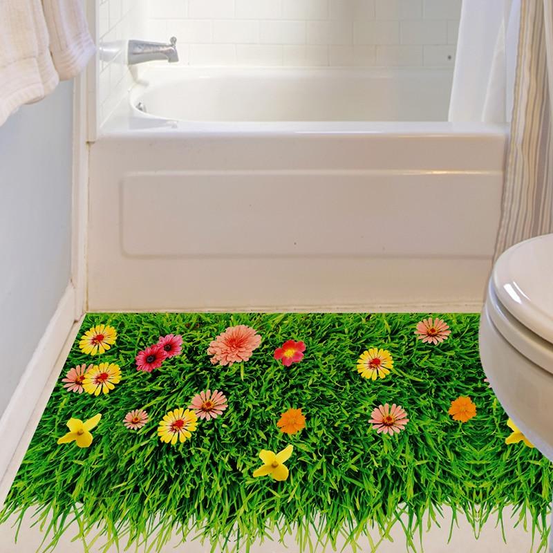 shijuehezi 3d grnen rasen boden aufkleber wohnkultur fr wohnzimmer badezimmer dekoration abnehmbare vinyl material - Badezimmer Grn