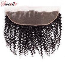 Милая Кружева Фронтальная застежка бразильский Реми волосы курчавые 13x4 с ребенком волос человеческих волос Часть