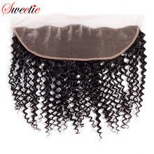 Swetie-cheveux Remy brésiliens crépus bouclés, cheveux 100% naturels, 13x4, Lace Frontal Closure, avec Baby Hair, partie libre, livraison gratuite