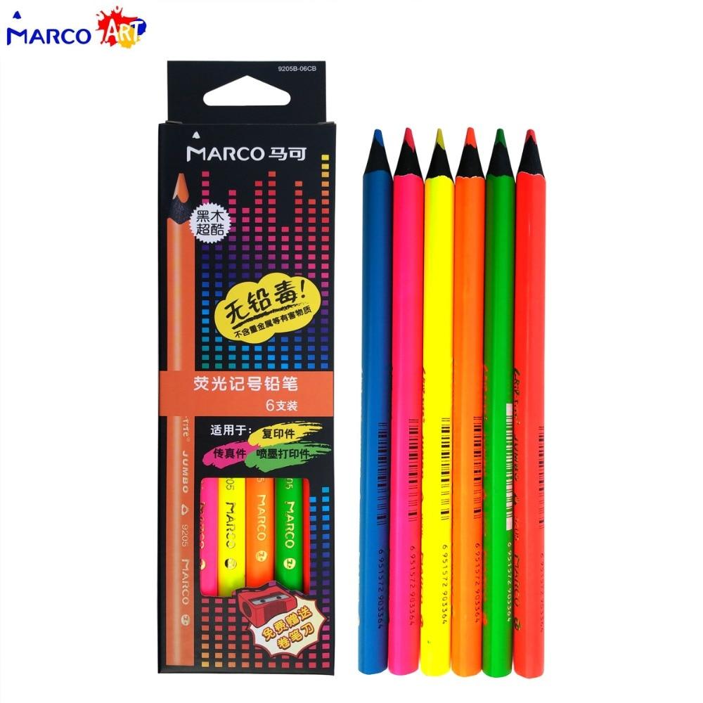 Marco Raffine 6pcs Black Wood Colored Pencils lapis de colores Neon Metallic Pencils for Drawing Pencil Set School Supplies