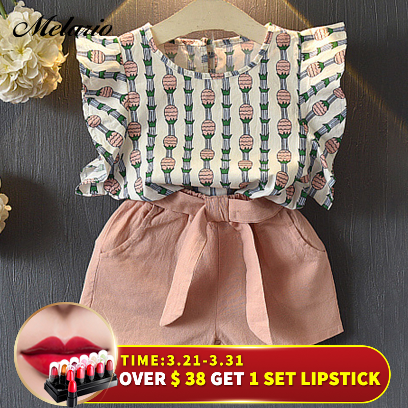 Melario Clothing Sets 2019 Children Clothing Sleeveless Bow T-shirt+Print Pants 2Pcs for Kids Clothing Sets Baby Girl suit