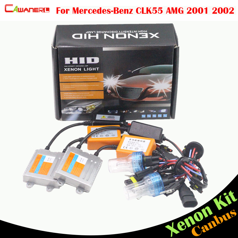 Cawanerl 55W Car Headlight Low Beam No Error HID Xenon Kit Ballast Bulb AC 3000K-8000K For Mercedes Benz CLK55 AMG 2001 2002 20pcs error free xenon white 14k gold interior led light kit for mercedes x164 gl amg with samsung 3030 led