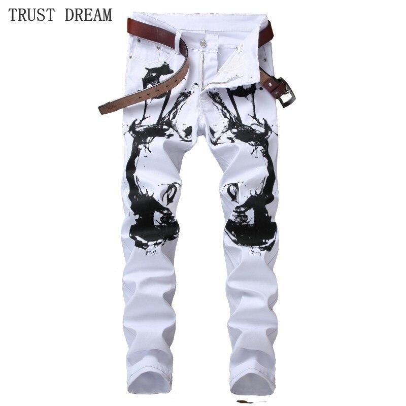 2018 New Designed Men White Floral Slim Jeans Print Black Graffiti Personal Pant Man Casual Club Street Fashion Amazing Jean