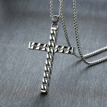 ZORCVENS 2019 New Silver Color Mens Cross Chain Pendant Necklaces Stainless Steel Colar Masculino Prayer Jewelry(China)
