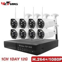 Surveillance Camera System Wireless 8CH CCTV Kit Wifi IP Network 1080P H 264 P2P Long Transmission