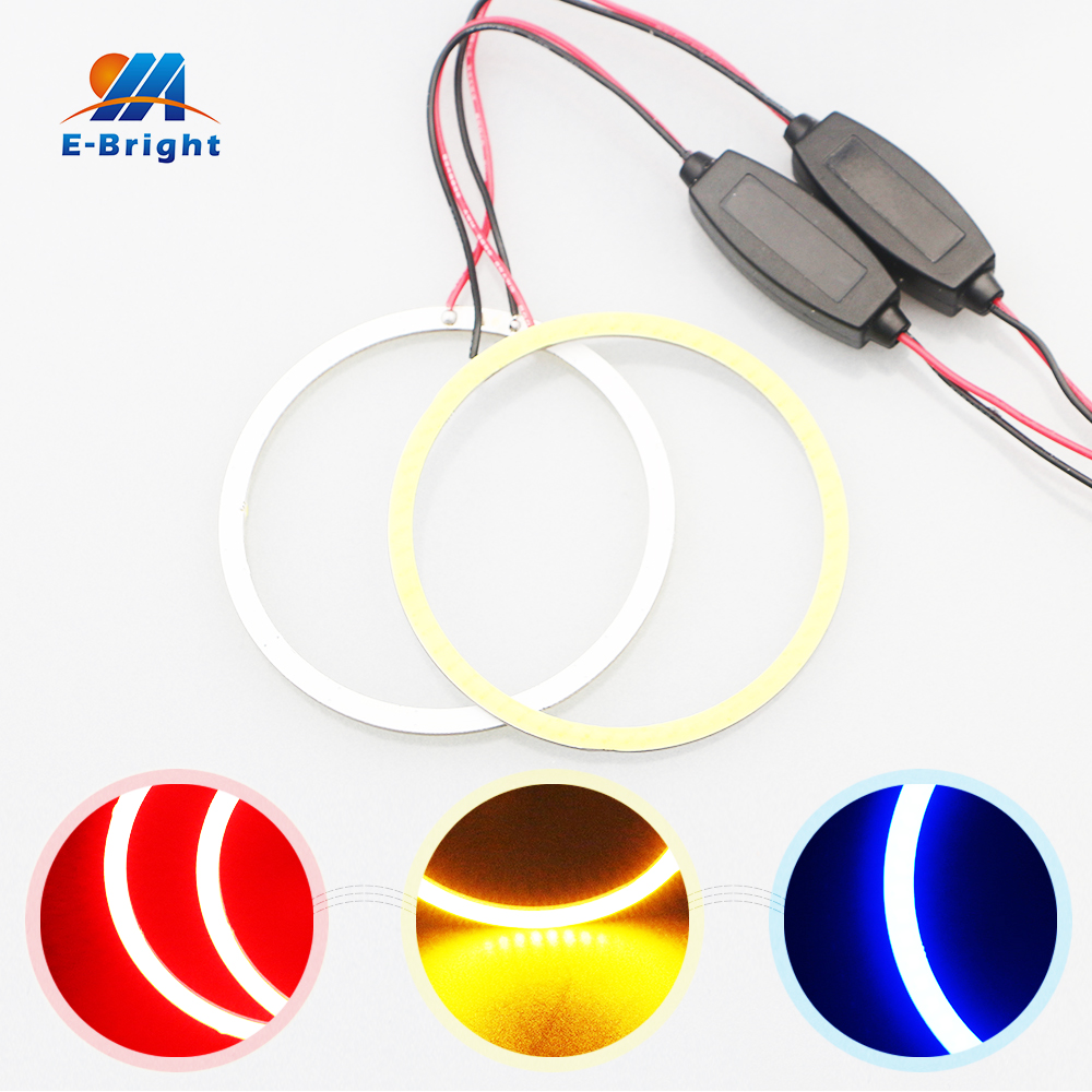 1 Pair 70mm 9V-30V COB 60 SMD Colorful RGB LED Car Halo Rings Lights With GALVANOSTAT LED Angel Eyes Car Headlight for Universal led headlight lights angel eyes