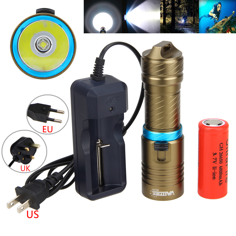Underwater 100m Scuba LED XM-L2 5000LM Diving Flashlight Diver Waterproof Portable Lantern Torch With 26650 Battery+Charger