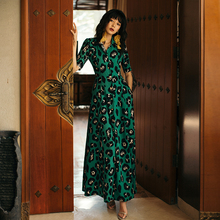VERRAGEE women maxi dress leopard print 2019 new spring summer A-line Dress V Neck printed female with pockets