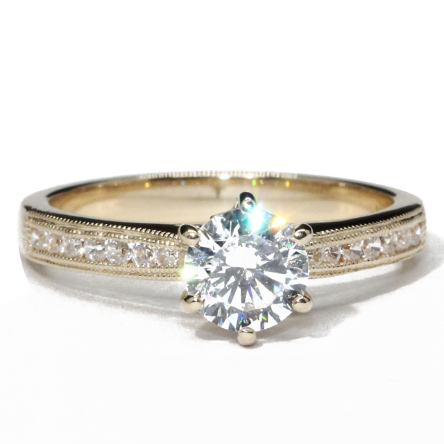 14K Yellow Gold 1CT Round Cut Lab Grown Diamond Ring