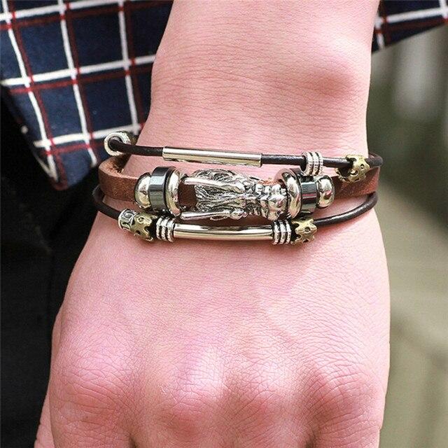 36fd77332 أساور الرجال اكسسوارات اليدوية مضفر مشبك سحر أساور جلدية للرجال الذكور خمر  parataxis التنين الطبقات مجوهرات