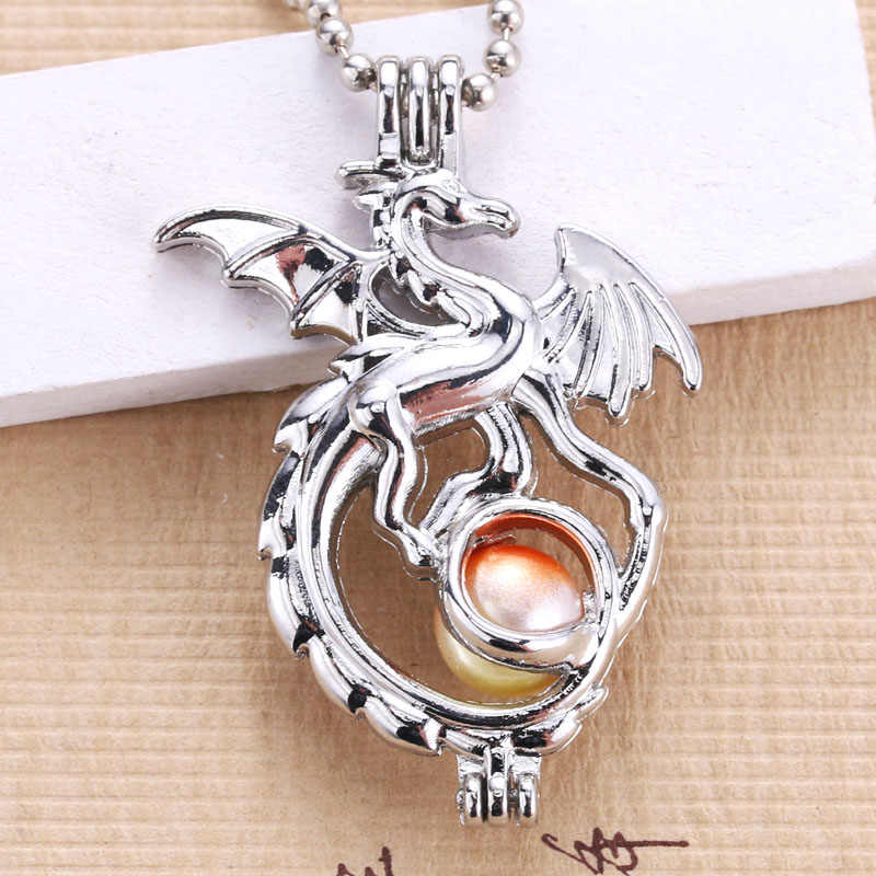 5pcs Wholesale Cute Silver Dragon Pearl Cage Jewelry DIY Pendant Charm Perfume Diffuser Pendant Jewelry