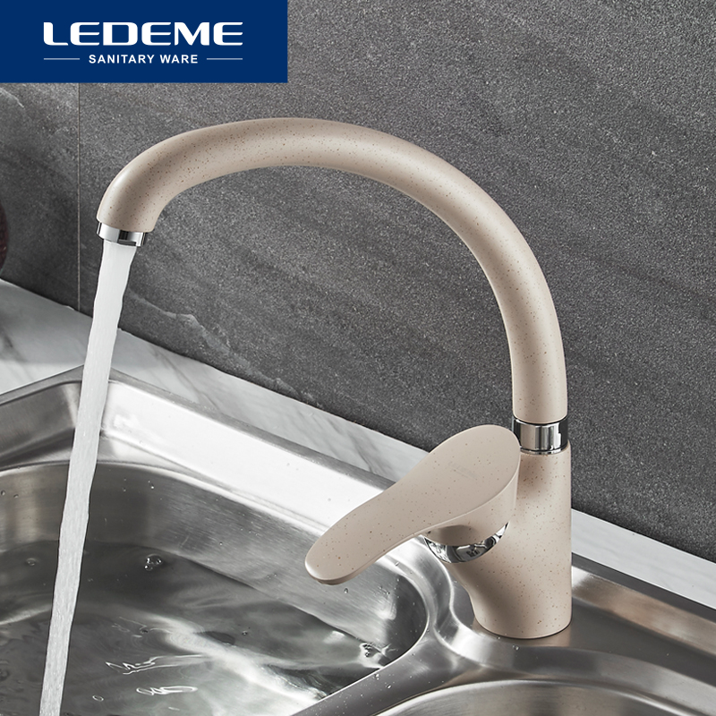 LEDEME Color Kitchen Faucet Mixer Water Tap Single Holder Single Hole Kitchen Faucets Spray Paint Rotation Rubinetto Cucina