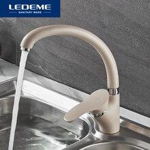 LEDEME renk sıcaklık ayarlı mutfak musluğu su dokunun tek tutucu tek delik mutfak musluk sprey boya rotasyon Rubinetto Cucina