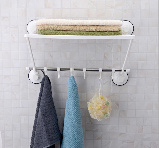 47CM Wall Mounted Strong Suction Cup Bathroom Towel Shelf Stainless ...