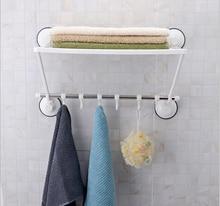 47CM Wall Mounted Strong Suction Cup Bathroom Towel Shelf Stainless Steel Towel Bar Rack With 6 Hooks Bathroom Organizador