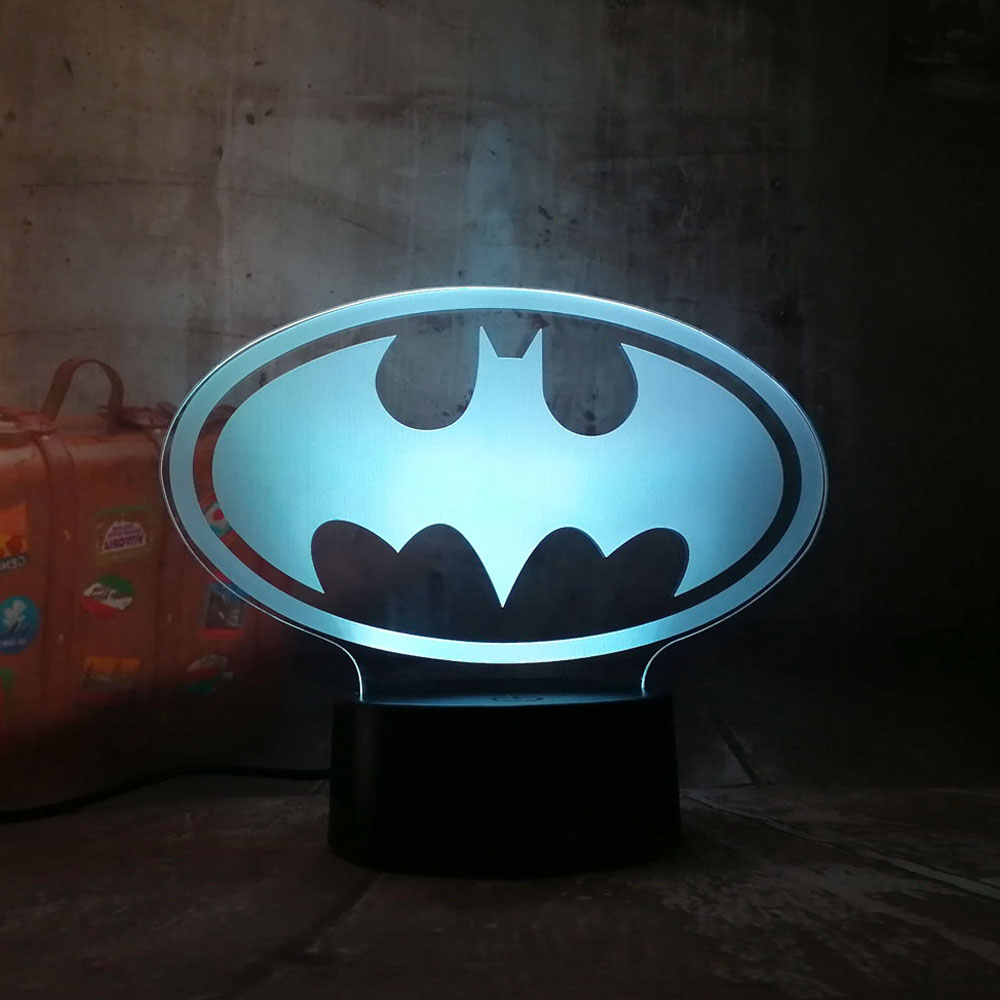 Amroe New 2018 3D LED DC Batman Symbol Light Night Desk Table Lamp 7 Color Change Flashlight USB RGB Controler Toy Kids Gift