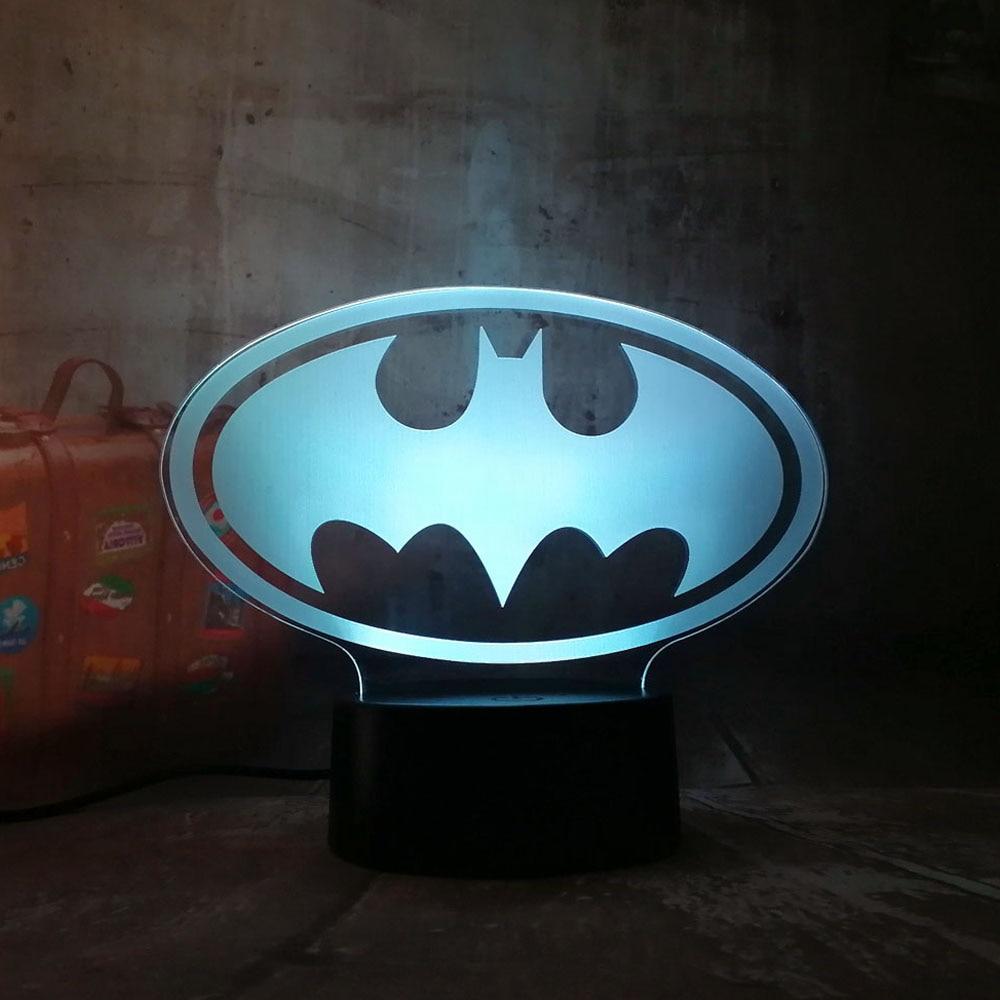 Amroe New 2018 3D LED DC Batman Symbol Light Night Desk Tabl