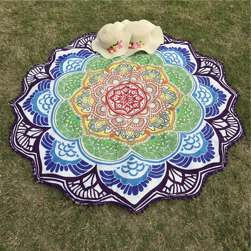 CLISPEED Indian Mandala Tapestry Printing Abstract Asciugamani da Spiaggia Elefante Tappetino da Yoga Sun Block Bikini Tondo Cover-Up Coperta 150 x 130 cm