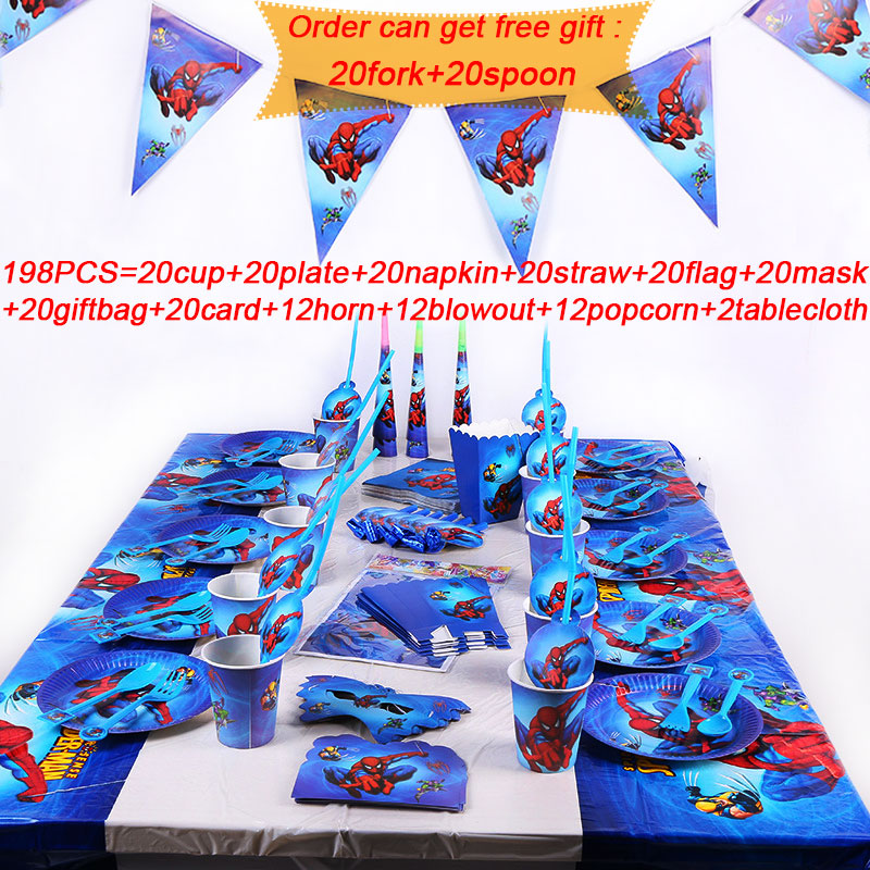 109/198pcs Spiderman Party Supplies Paper Cups Plates Hats Flag Decoration Birthday Spiderman Party Supplies Set For Baby Shower