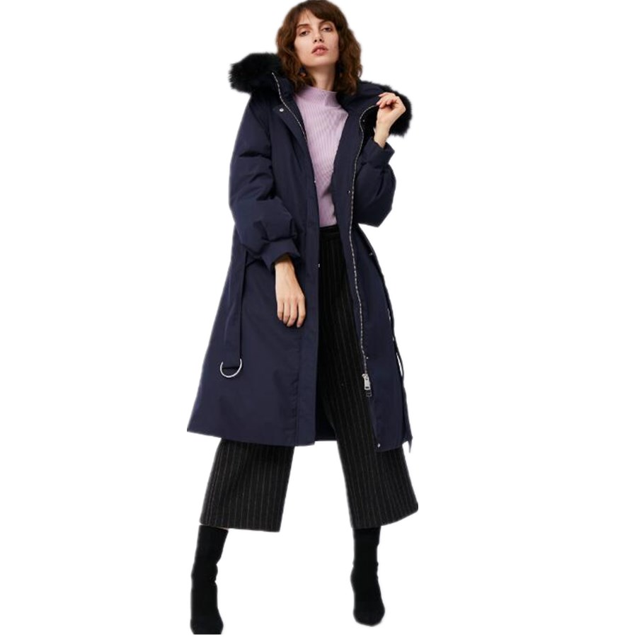 Big real fur collar hooded goose   down     coats   female winter longer was thin thicker warm long hooded goose   down     coats   wq2192