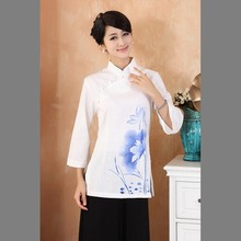 Chinese Traditional Tops Women's Linen/Cotton  Long-Sleeves Shirt  size: M-3XL