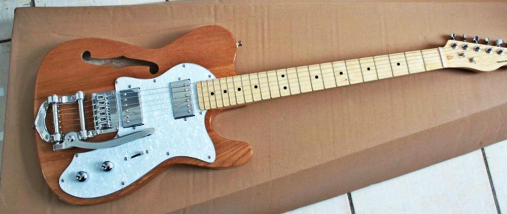 Высокое качество GYTL 2047 ясень цвет белый пластины F Джаз полый большой рокер гитара Telecaster, Бесплатная доставка