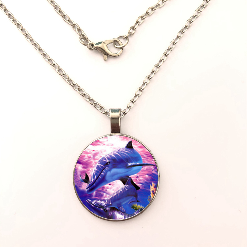 2019 New Dolphin Photo Pendant Necklace Jewelry Dome Handmade Personal Necklace Fashion Jewelry Gift in Pendant Necklaces from Jewelry Accessories