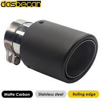 Dasbecan Car Exhaust Systems Matte Carbon Muffler Tip Tail End Automotive Parts Rolling Exhaust Pipe For Akrapovic Universal