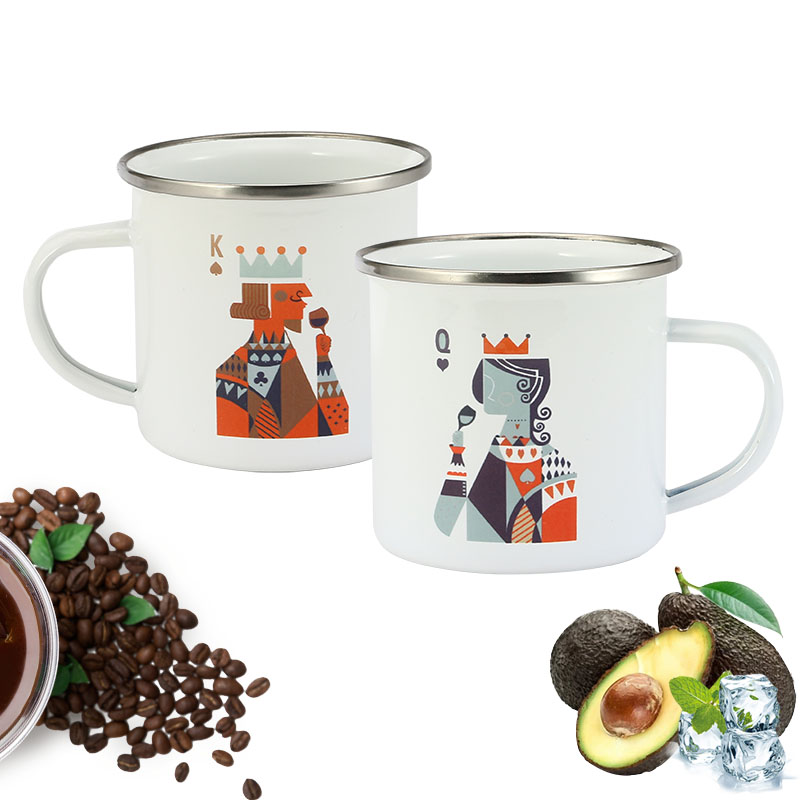 Valentine's Day 350 ml Enamel Coffee Mug Creative King Queen Breakfast Cup Black Roll Rim with Handgrip Milk Tea Cup