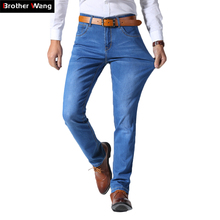 2018 Summer New Mens Thin Light Jeans Business Casual Stretch Slim Denim Jeans Light Blue Trousers Male Brand Pants Plus Size cheap Solid A2-1178-106F39 Brother Wang Lightweight Straight Softener Medium Pockets Full Length Zipper Fly